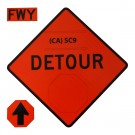 SC9 Detour w/ Arrow Roll-Up Sign