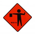 W20-7a Flagger Symbol Roll-Up Sign