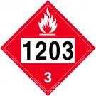 D.O.T. Flammable 1203 Class 3 Placard
