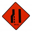 W4-2L Left Lane Ends Roll-Up Sign