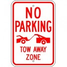 No Parking Tow Away Zone Sign w/ Symbol