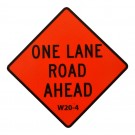W20-4 One Lane Road Ahead Roll-Up Sign