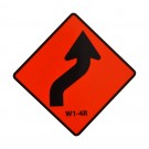 W1-4R Reverse Curve Right Roll-Up Sign