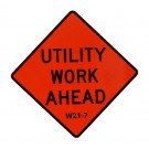 W21-7 Utility Work Ahead Roll-Up Sign