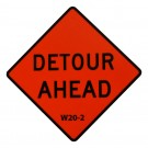 W20-2 Detour Ahead Roll-Up Sign