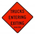 C44 Trucks Entering Exiting Roll-Up Sign
